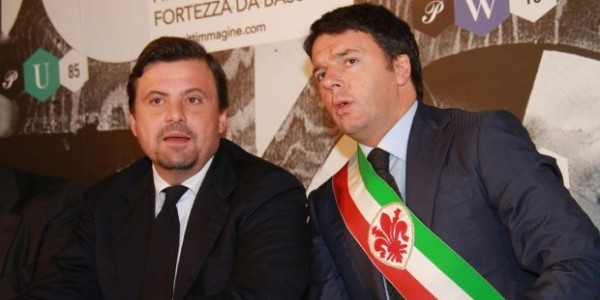 Carlo Callenda con l'allora sindaco di Firenze Renzi