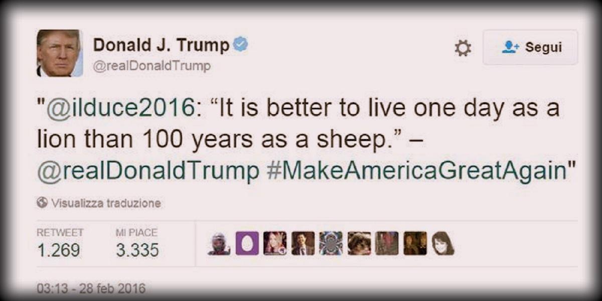 Trump Con Un Twitt Rincorre Mussolini
