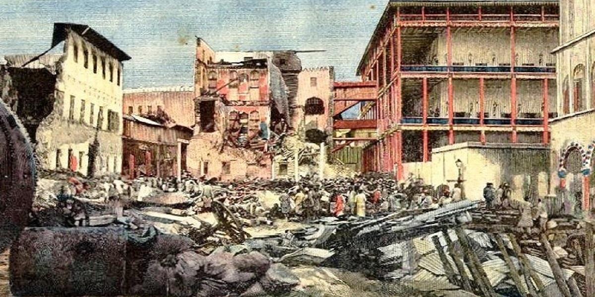I palazzi del sultano dopo il bombardamento inglese