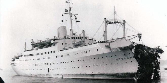 Lo Stockholm dopo lo speronamento contro la fiancata dell'Andrea Doria