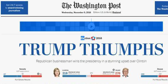 La homepage del Washington Post con la notizia dell'elezione di Donald Trump a presidente degli Stati Uniti, 9 novembre 2016. ANSA/ WEB +++ NO SALES, EDITORIAL USE ONLY +++